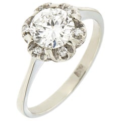Antique Engagement 0.95 Carat Diamond White Gold Ring by Botta Gioielli