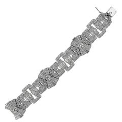 French 1950's Retro, Vintage Diamond 20.3ct Wide Band Bracelet in Platinum
