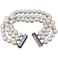 Cultured Pearl and Diamonds 3 Rows Bracelet