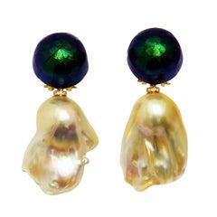 Pearl Scarab Bead Diamond Dangle Earrings