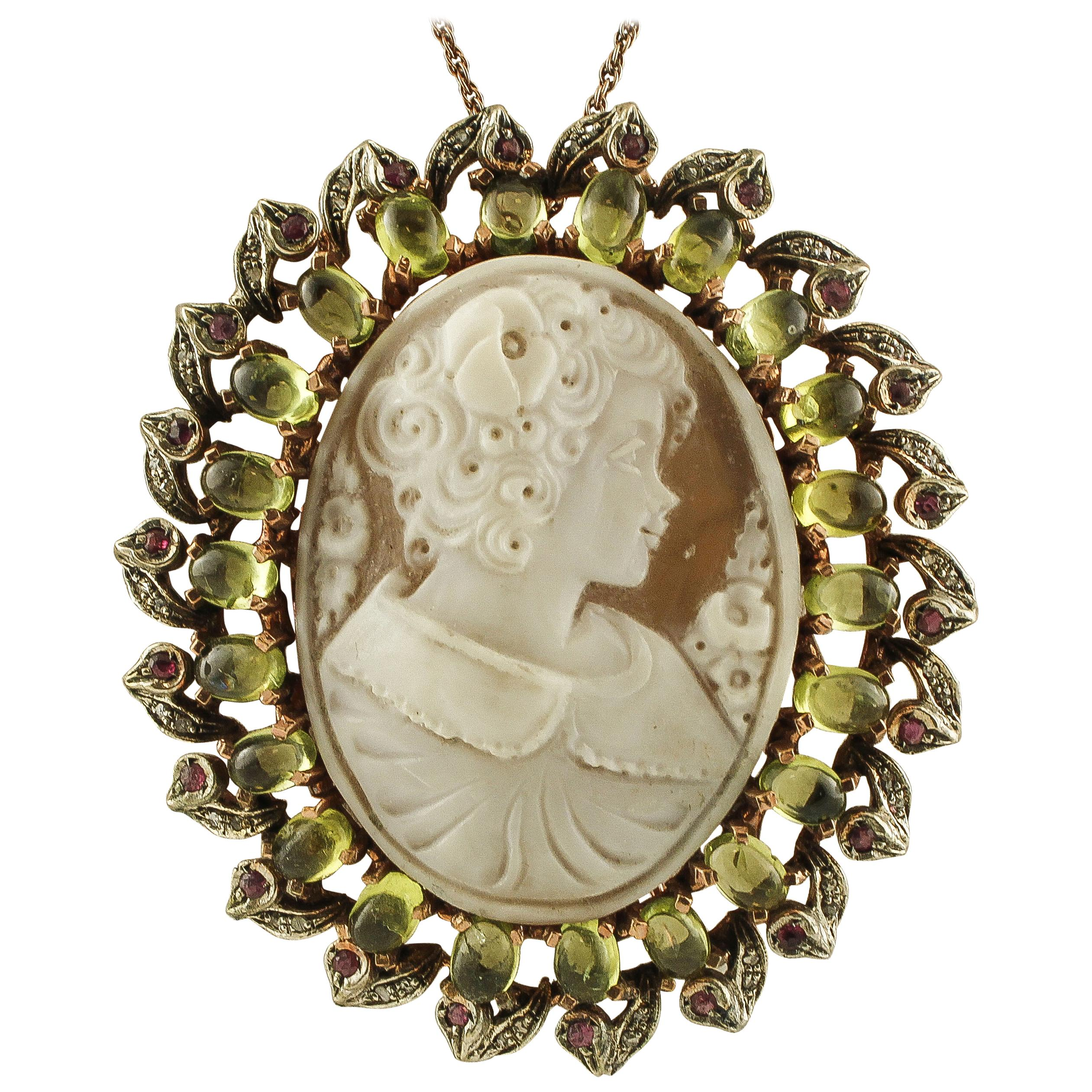 Cameo, Peridot, Diamonds, Rubies, 9 Karat Rose Gold and Silver Pendant/Brooch