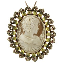 Cameo, Peridot, Diamonds, Rubies, 9 Karat Rose Gold and Silver Pendant/Brooch