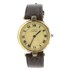 Cartier Round Vermeil Quartz Argent 925 Watch