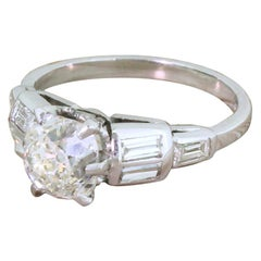 Art Deco 1.57 Carat Old Mine Cut Diamond Platinum Engagement Ring