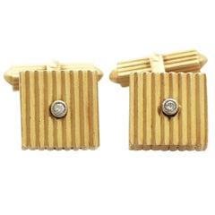 1960s Vintage German Art Deco Style Diamond Gold Cufflinks