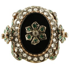 Onyx, Emeralds, White Topazes, 9 Karat Rose Gold and Silver Retro Ring