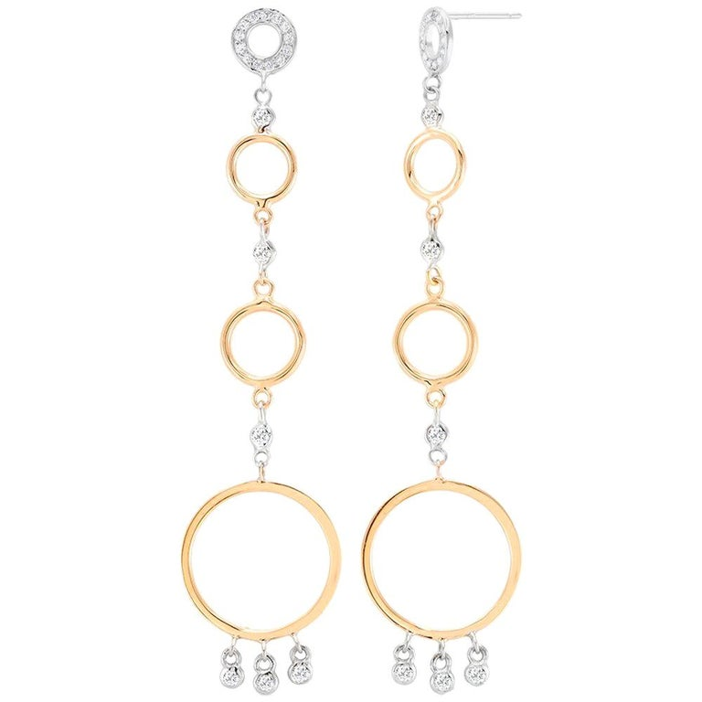 White and Yellow Gold Circle Diamond Earrings Three Inch Long  For Sale