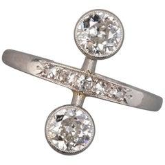 1.10 Carat Antique French Platinum and Diamonds Engagement Ring