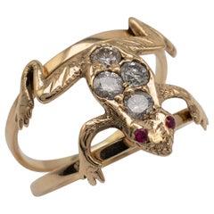 0.40 Carat Diamond Ruby FROG Ring 15 Karat Gold UK Hallmarked