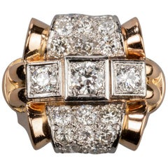2.20 Carat Gold Platinum and Diamonds French Tank Ring