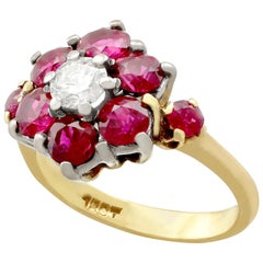 1970s 1.65 Carat Ruby Diamond Cluster Ring in Yellow Gold