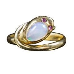 Antique Victorian Opal Snake Ring 18 Carat Gold Ruby Eyes, circa 1900