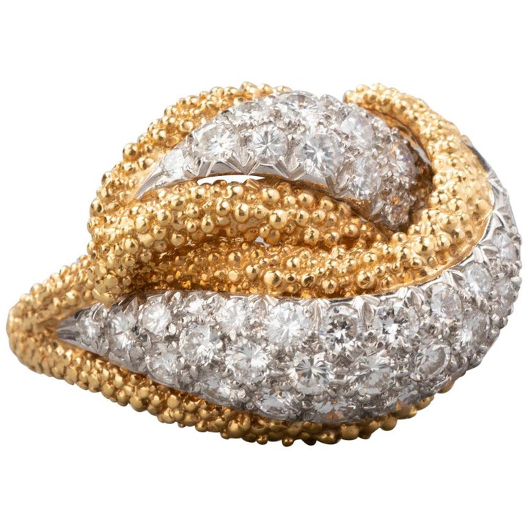 129829eeab6 2 Carat Gold Platinum and Diamonds Tiffany and Co. Cocktail Ring For ...