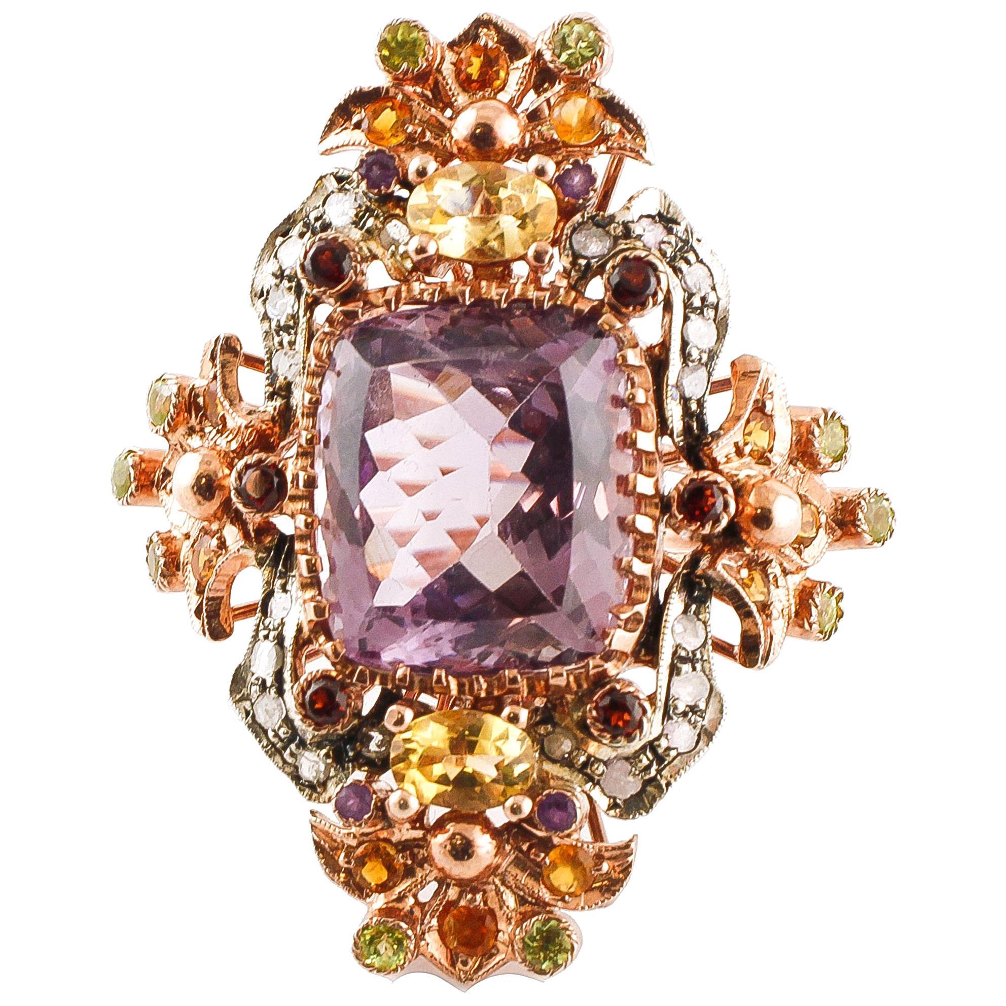 Amethysts, Topazes, Garnets, Peridots, Diamonds, 9 Karat Gold and Silver Ring