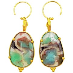 Aquaprase and 22-Karat Gold Hand Forged Dangle Earrings