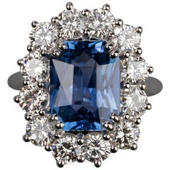 Certified 5.52 Carat Ceylan Sapphire and 2.48 Carat Diamonds Engagement Ring
