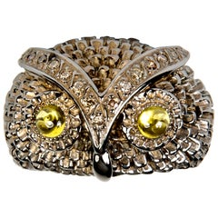 Owl Silver Diamond Band Ring