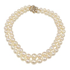 Cartier Diamond and Pearls Double Strand Necklace