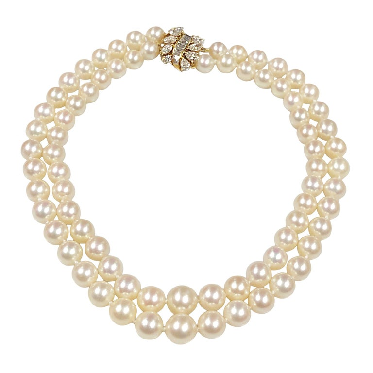 Cartier Diamond and Pearls Double Strand Necklace For Sale
