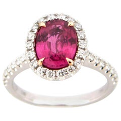 2.39 Carat Oval Pink Sapphire and Diamond Cocktail Ring