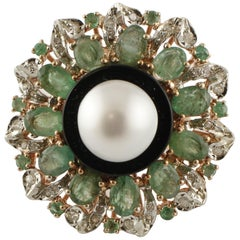 Diamonds, Emeralds, Onyx, Pearl, 9 Karat Rose Gold and Silver Ring