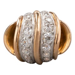 1.80 Carat Gold Platinum and Diamonds French Cocktail Ring