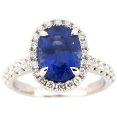 3.84 Carat Oval Sapphire and Diamond Cocktail Ring