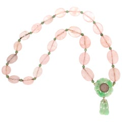 Quartz 14 Karat Yellow Gold Jade Drop Necklace