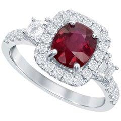 Ruby and Diamond 14 Karat White Gold Ring