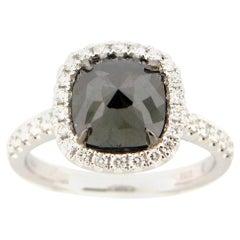 2.53 Carat Rose Cut Black and White Diamond Cocktail Ring