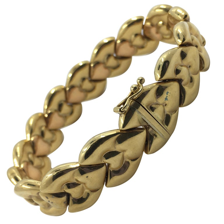 14 Karat Pink and Yellow Gold Bracelet For Sale