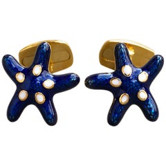 Navy Blue White Enameled Starfish Shaped Sterling Silver Gold-Plated Cufflinks