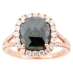 1.94 Carat Rose Cut Black and White Diamond Cocktail Ring in Rose Gold