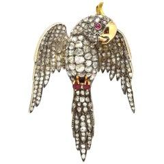 Victorian Parrot Brooch French Large 18 Karat Gold Rose Cut Diamonds 20 Carat