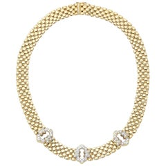 Vintage Yellow Gold Diamond Link Necklace