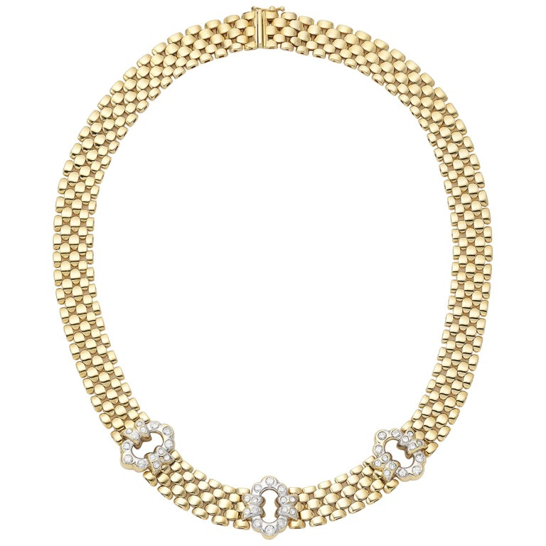 Yellow Gold Diamond Link Necklace For Sale