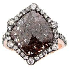 2.00 Carat Rose Cut Slice Brown Diamond Cocktail Ring in Rose Gold