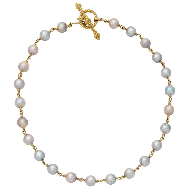 Yellow Gold Necklace with Pearls For Sale