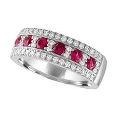 Julian B Designs Ruby and Diamond 14 Karat White Gold Band Ring