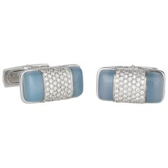 Orianne Collins Gold Diamond and Chalcedony Cufflinks