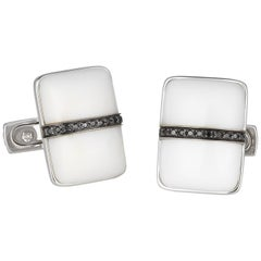 Orianne Collins Gold White Agate and Black Diamond Cufflinks