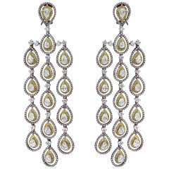 Pink Diamond, Yellow Diamond and White Diamond Long Dangle Chandelier Earrings