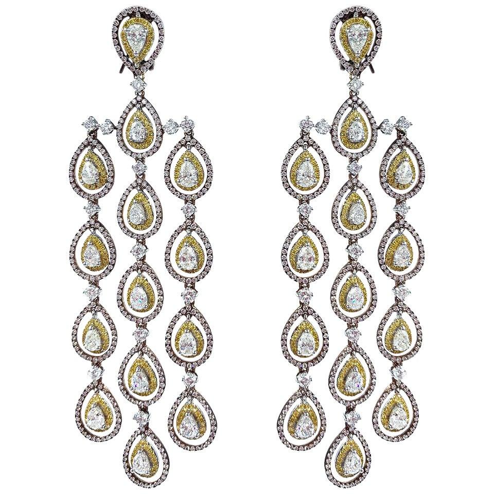 Pink Diamond, Yellow Diamond and White Diamond Long Dangle Chandelier Earrings
