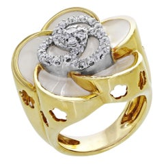 Roberto Coin 18 Karat Yellow Gold Enamel Diamond Flower Ring 0.35 Carat