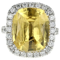 White Gold 10.83 Natural No Heat Yellow Sapphire and Diamond Ring AGL Certified