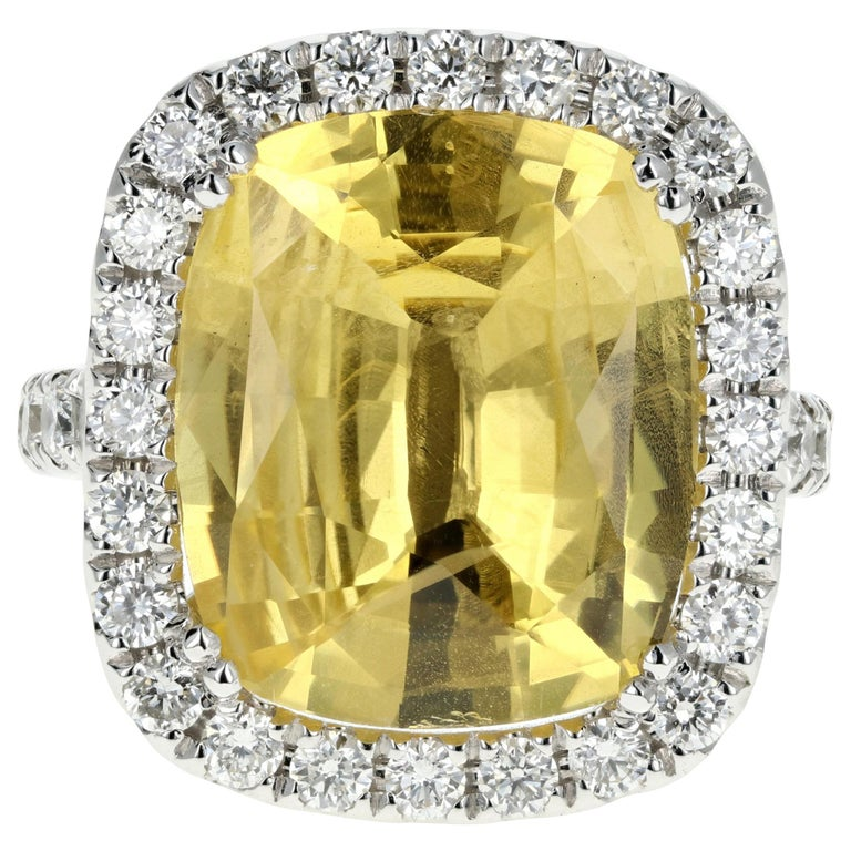 White Gold 10.83 Natural No Heat Yellow Sapphire and Diamond Ring AGL Certified For Sale