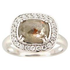 1.95 Carat Rose Cut Gray - Green Diamond Cocktail Ring