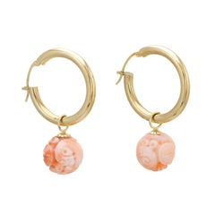 Vintage Hoop Earrings 14 Karat Gold Carved Coral Drops Gemstone Estate Jewelry
