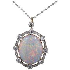 12.40 Carat Natural Australian Opal 2.38 Carat Diamond Rare Edwardian Pendant