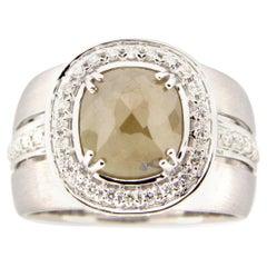 1.87 Carat Rose Cut Gray - Green Diamond Cocktail Ring